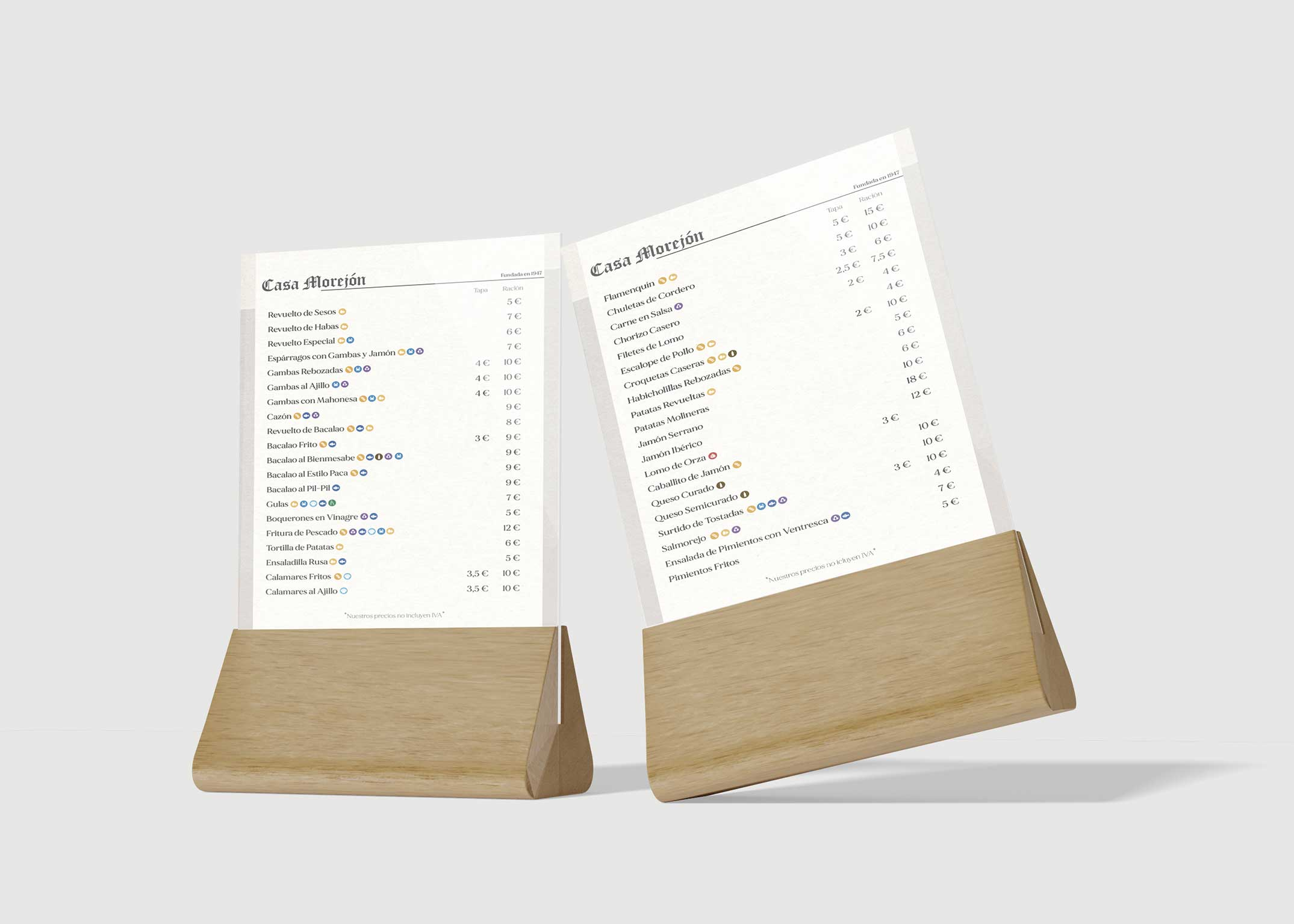 Diseño Carta Restaurante Morejón